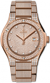 Hublot Classic Fusion King Gold Full Pave Bracelet 42 mm 548.OX.9000.OX.3704