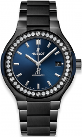 Hublot Classic Fusion Ceramic Blue Bracelet Diamonds 38 mm 568.CM.7170.CM.1204