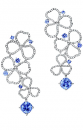 Серьги Tiffany Paper Flowers Diamond and Tanzanite Open Drop Earrings 61625348
