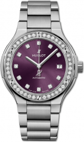 Hublot Classic Fusion Titanium Purple Diamonds Bracelet 38 mm 568.NX.897V.NX.1204