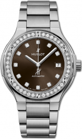 Hublot Classic Fusion Titanium Brown Diamonds Bracelet 38 mm 568.NX.897M.NX.1204