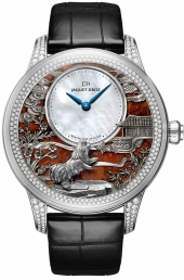 Jaquet Droz Petite Heure Minute Relief Dog White Gold Diamonds