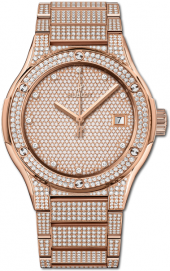 Hublot Classic Fusion King Gold Full Pave Bracelet 45 mm 510.OX.9000.OX.3704